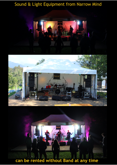 Sound & Light Equipment from Narrow Mind can be rented without Band at any time